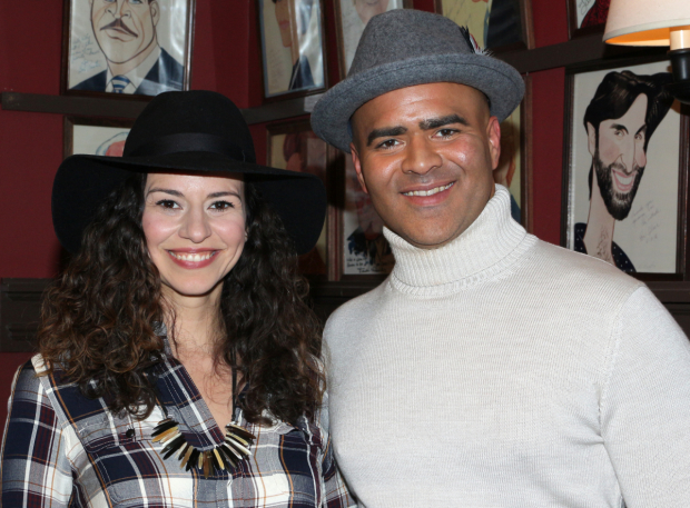<p>Jackson is congratulated by Mandy Gonzalez, his current <em>Hamilton</em> costar and former <em>In the Heights</em> leading lady.</p><br />(© David Gordon)