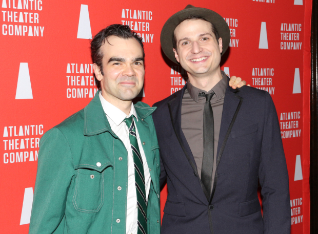 <p>James Barry and Bryan Fenkart are thrilled to celebrate their opening night.</p><br />(© David Gordon)