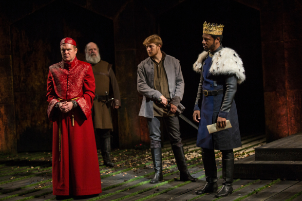 <p>James Joseph O&#39&#x3B;Neil as Bishop of Carlisle, John Ahlin as Earl of Northumberland, Samuel Max Avishay as Harry Percy, and Tory Kittles as Henry Bolingbroke in a scene from <em>Richard II</em>.</p><br />(© Jim Cox)