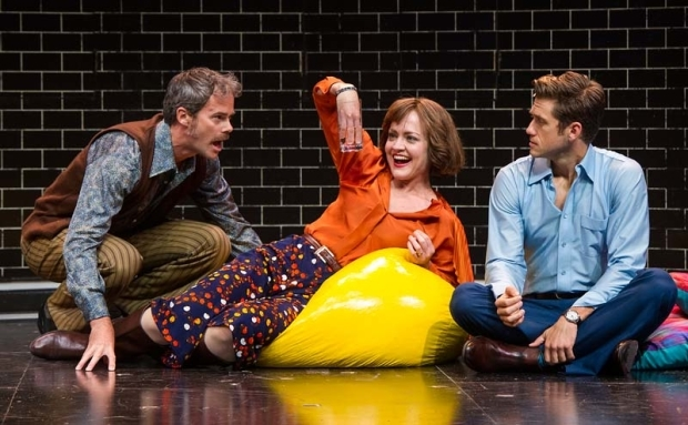 <p>James Ludwig (left) and Aaron Tveit (right) look on in awe at Jane Pfitsch.</p><br />(© Daniel Rader)