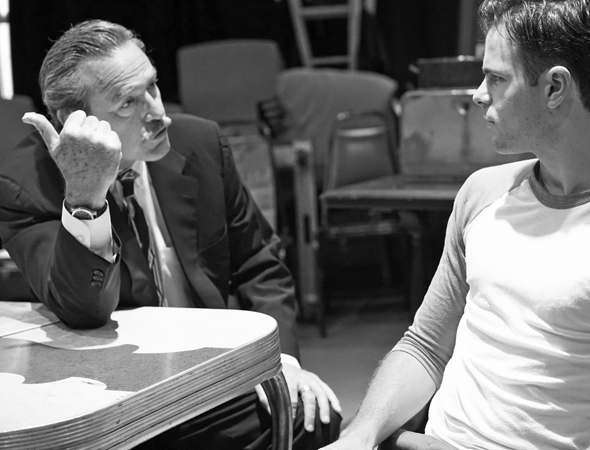 <p>James McCaffrey and Jonny Orsini take the stage in the rehearsal room.</p><br />(© Leah Michalos)
