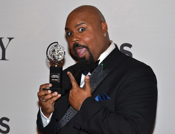 <p>James Monroe Iglehart, recipient of the Best Featured Actor in a Musical award for his work in <em>Aladdin</em>.</p><br />(© David Gordon)