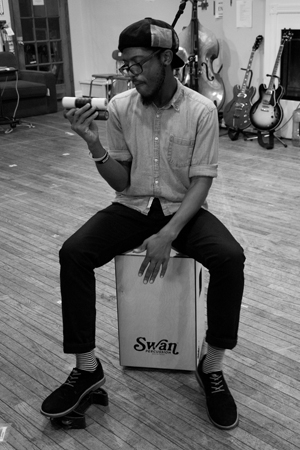 <p>James Williams lets his percussion skills loose.</p><br />(© David Gordon)