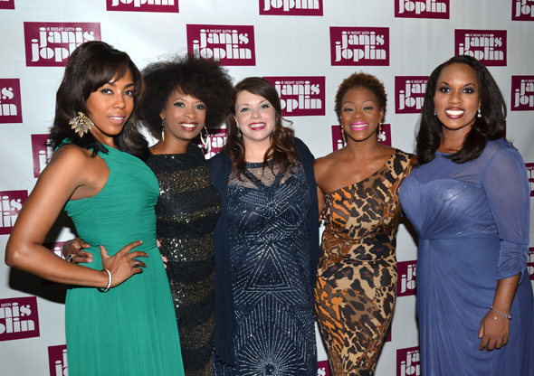 <p>Janis herself, Mary Bridget Davies (center), smiles alongside her Joplinaires: De&#39&#x3B;Adre Aziza, Taprena Michelle Augustine, Nikki Kimbrough, and Allison Blackwell.</p><br />(© David Gordon)