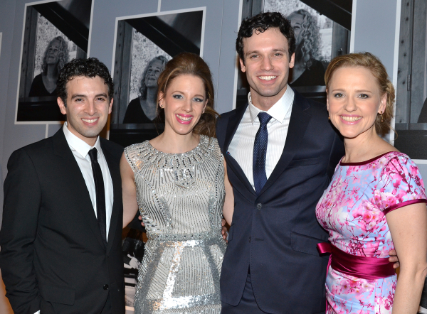 <p>January 12, 2014: Mueller and costars Jarrod Spector, Jake Epstein, and Anika Larsen celebrate the opening of <em>Beautiful — The Carole King Musical</em> with a fancy party at Cipriani.</p><br />(© David Gordon)