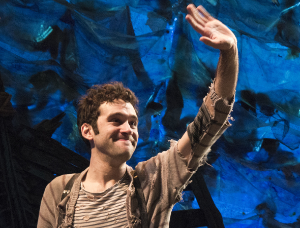 <p>January 20: Adam Chanler-Berat waves goodbye to Broadway as <em>Peter and the Starcatcher</em> closes at the Brooks Atkinson Theatre. The show reopened in March, with a different cast, off-Broadway at New World Stages.</p><br />(© David Gordon)