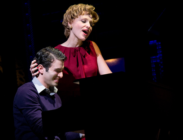 <p>Jarrod Spector and Anika Larsen sing around the piano as Barry Mann and Cynthia Weil.</p><br />(© David Gordon)