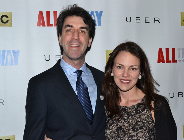 <p>Jason Robert Brown and Georgia Stitt get ready for <em>All the Way</em> on opening night.</p><br />(© David Gordon)