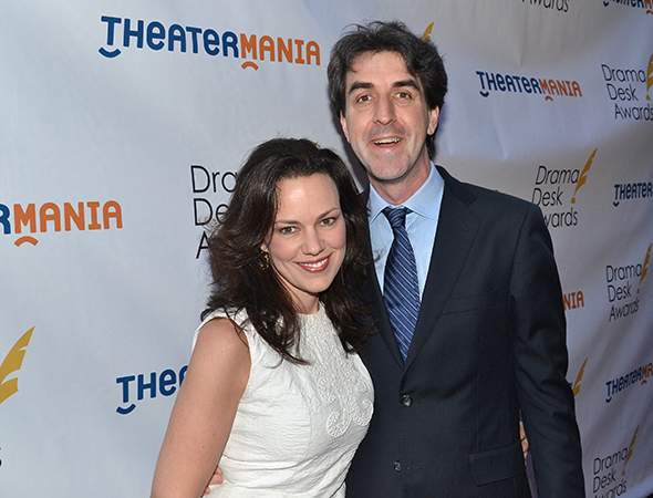 <p>Jason Robert Brown, Outstanding Music, Outstanding Lyrics, and Outstanding Orchestrations nominee for <em>The Bridges of Madison County</em>, with his wife, Georgia Stitt.</p><br />(© David Gordon)