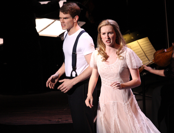 <p>Jay Armstrong Johnson and Erin Mackey as Anthony and Johanna during &quot&#x3B;Kiss Me.&quot&#x3B;</p><br />(© David Gordon)