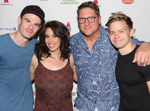<p>Jay Armstrong Johnson, Lesli Margherita, Christopher Sieber, and Andrew Keenan-Bolger take a photo together.</p><br />(© David Gordon)