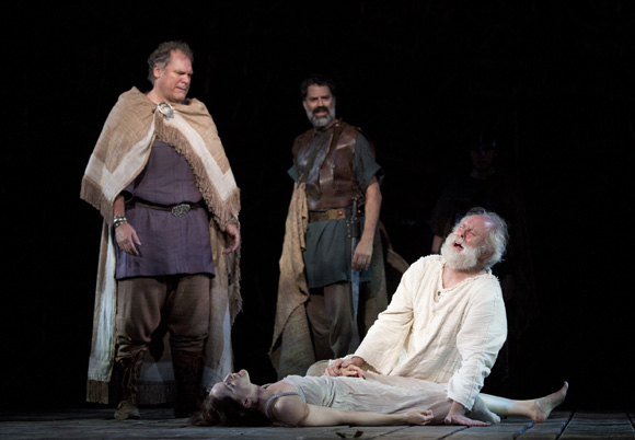 <p>Jay O. Sanders as Kent, Christopher Innvar as Albany, and John Lithgow as Lear mourn Cordelia (Jessica Collins).</p><br />(© Joan Marcus)