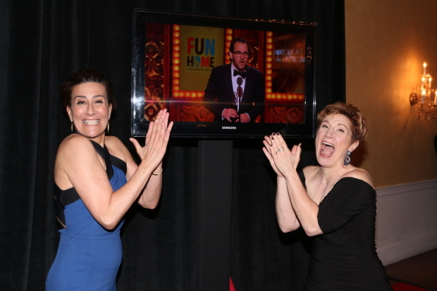 <p>Jeanine Tesori and Lisa Kron are overjoyed as Sam Gold accepts his Tony for Best Director of <em>Fun Home</em>.</p><br />(© David Gordon)