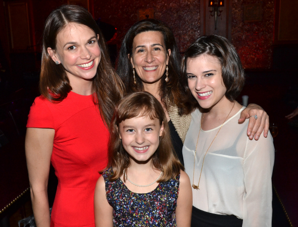 <p>Jeanine Tesori (center) with the ladies of her musicals <em>Violet</em> and <em>Fun Home</em>: (from left) Sutton Foster, Sydney Lucas, and Alexandra Socha.</p><br />(© David Gordon)