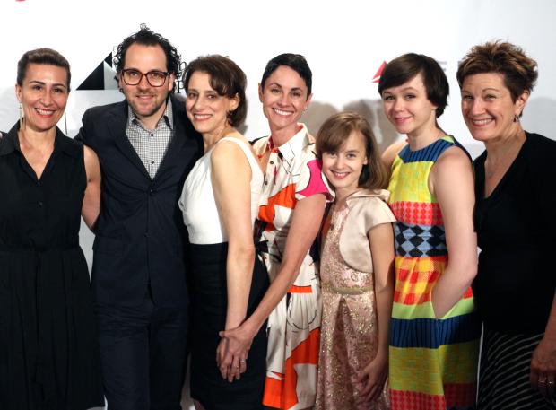 <p>Jeanine Tesori, Sam Gold, Judy Kuhn, Beth Malone, Sydney Lucas, Emily Skeggs, and Lisa Kron — <em>Fun Home</em></p><br />(© David Gordon)