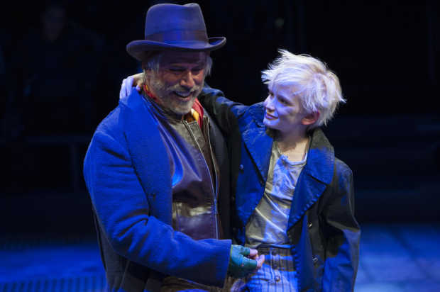<p>Jeff McCarthy (Fagin) shares a tender moment with his Oliver, Jake Heston Miller.</p><br />(© Margot Schulman)
