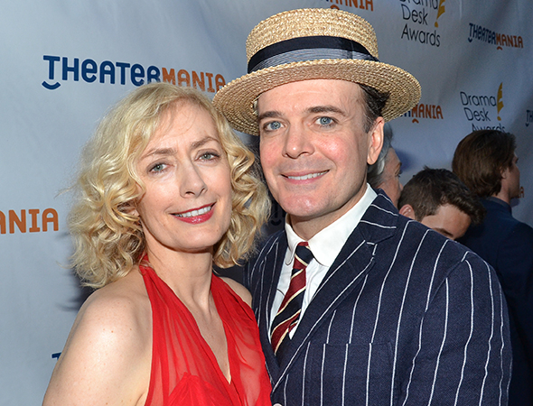 <p>Jefferson Mays, Outstanding Lead Actor in a Musical nominee for <em>A Gentleman&#39&#x3B;s Guide to Love and Murder</em>, with his wife, Susan Lyons.</p><br />(© David Gordon)