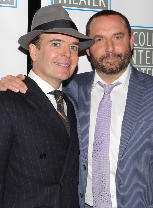 <p>Jefferson Mays takes a picture with costar Adam Danheisser.</p><br />(© David Gordon)