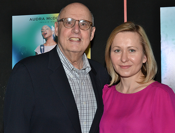 <p>Jeffrey Tambor and Kasia Ostlun are thrilled to be on hand for another opening.</p><br />(© David Gordon)
