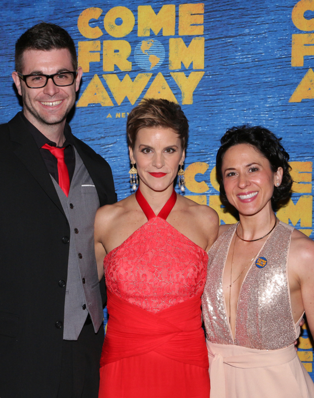 <p>Jenn Colella (center) shares the evening with her partners, Thomas Keegan and Alyssa Wilmoth Keegan.</p><br />(© David Gordon)
