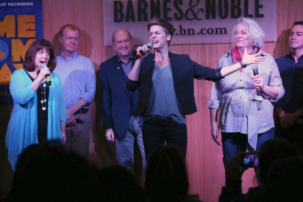 <p>Jenn Colella takes center stage during a number.</p><br />(© Tricia Baron)