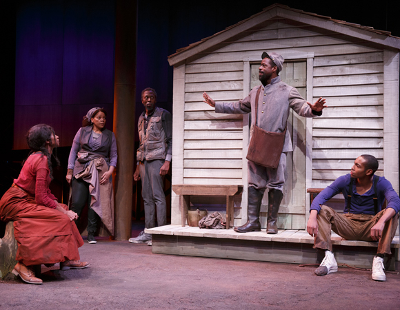 <p>Jenny Jules, Tonye Patano, Julian Rozzell Jr., Sterling K. Brown, and Jeremie Harris in a scene from Part 1 of <em>Father Comes Home From the Wars</em>. </p><br />(© Joan Marcus)