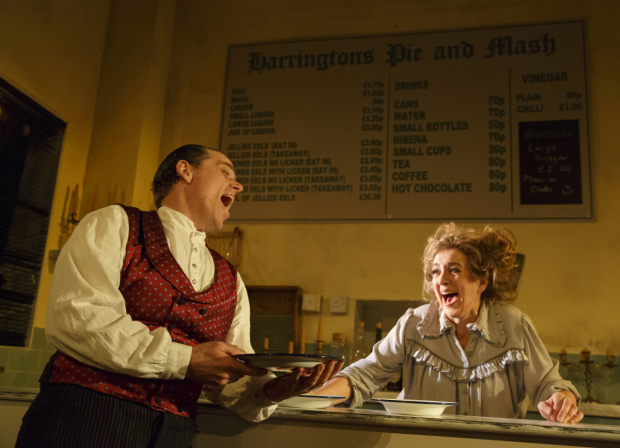 <p>Jeremy Secomb and Siobhán McCarthy bring their Sweeney and Mrs. Lovett from a London pie shop to the Barrow Street Theatre.</p><br />(© Joan Marcus)