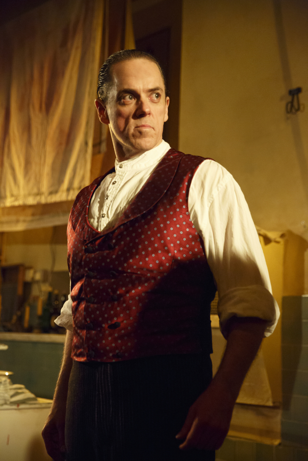 <p>Jeremy Secomb stars as the title character in <em>Sweeney Todd</em>.</p><br />(© Joan Marcus)