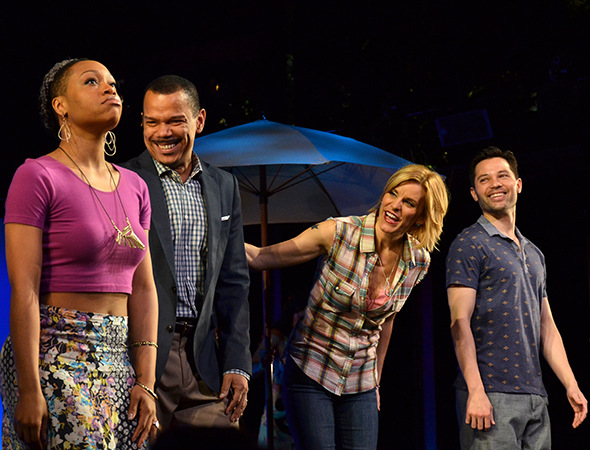 <p>Jerry Dixon, Jenn Colella, and Jason Tam look on as Tamika Lawrence (left) takes her Broadway debut curtain call.</p><br />(© David Gordon)