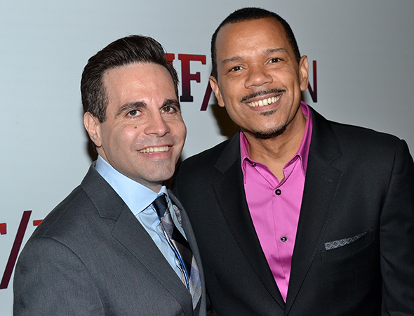 <p>Jerry Dixon (right) completes the show&#39&#x3B;s principal company. Here, he poses with his husband, comedian Mario Cantone.</p><br />(© David Gordon)