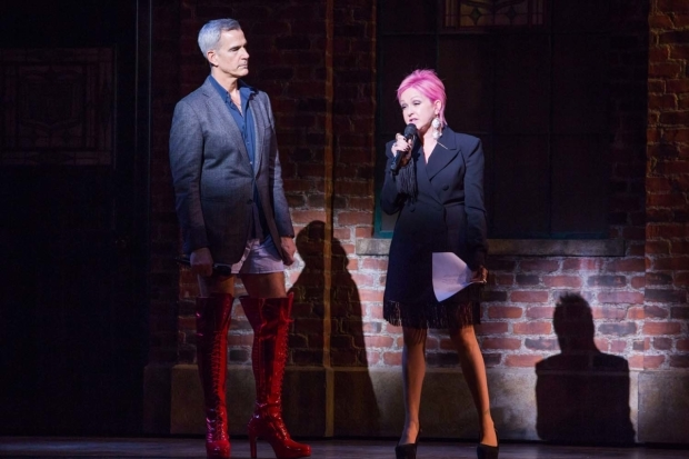 <p>Jerry Mitchell takes the stage alongside Cyndi Lauper.</p><br />(© Jeremy Daniel)
