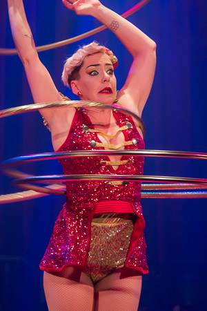 <p>Jess Love might not be able to twirl these Hula-Hoops much longer. </p><br />(© Seth Walters)