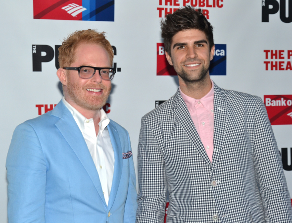 <p>Jesse Tyler Ferguson (seen here with his husband, Justin Mikita) appeared in last year&#39&#x3B;s Shakespeare in the Park production of <em>The Comedy of Errors</em> with <em>Much Ado</em> star Hamish Linklater.</p><br />(© David Gordon)