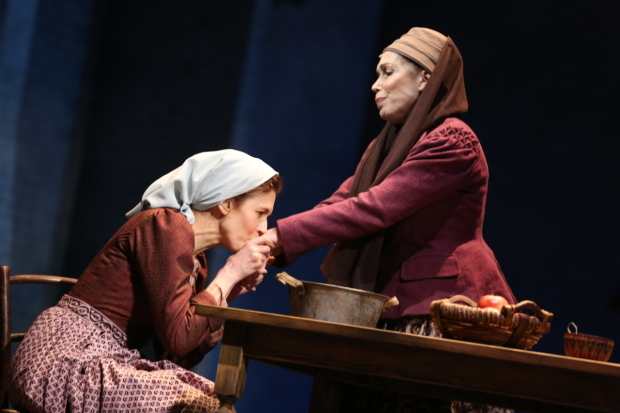<p>Jessica Hecht and Alix Korey play Golde and Yente.</p><br />(© Joan Marcus)