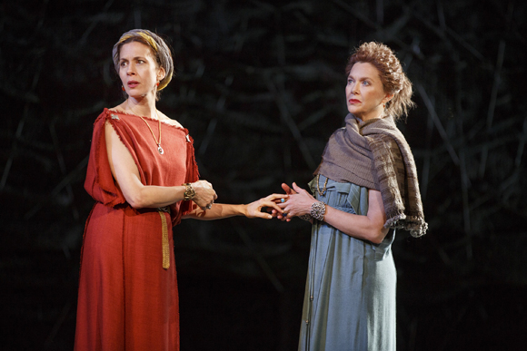 <p>Jessica Hecht and Annette Bening portray Lear&#39&#x3B;s daughters Regan and Goneril, respectively.</p><br />(© Joan Marcus)