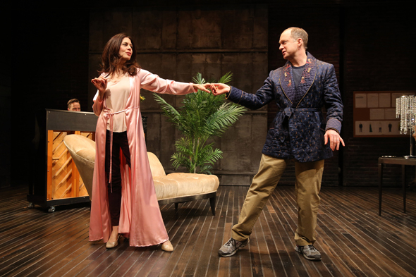 <p>Jessica Hecht and Daniel Jenkins share a dance onstage.</p><br />(© Joan Marcus)