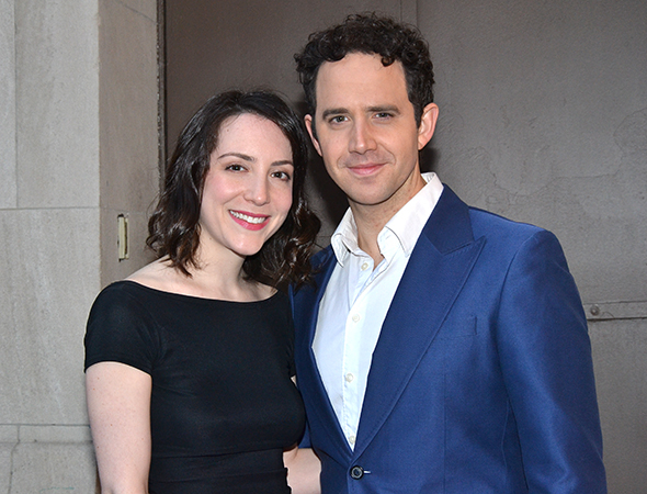 <p>Jessica Hershberg and Santino Fontana pose for photos together before heading into the Lyceum Theatre.</p><br />(© David Gordon)