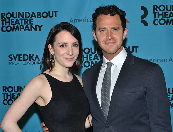 <p>Jessica Hershberg and Santino Fontana smile for the cameras.</p><br />(© David Gordon)