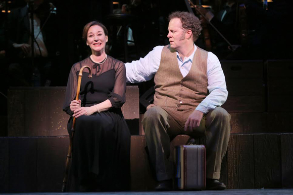 <p>Jessica Molaskey joins Shuler Hensley onstage.</p><br />(© Joan Marcus)