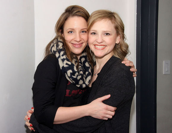 <p>Jessie Mueller and Anika Larson smile for the camera on recording day.</p><br />(© Joe Marzullo)