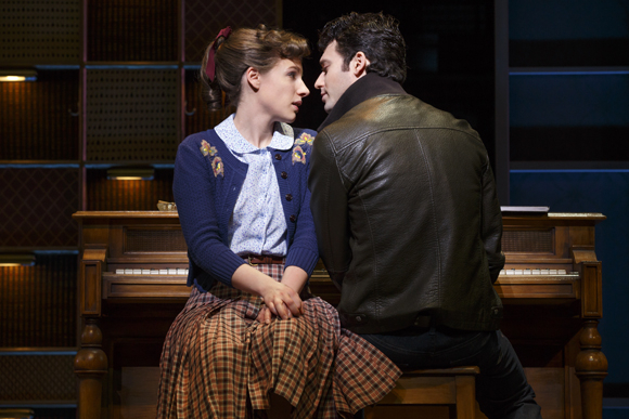 <p>Jessie Mueller and Jake Epstein share a tender moment.</p><br />(© Joan Marcus)