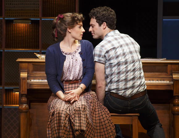 <p>Jessie Mueller as Carole King and Jake Epstein as her husband Gerry Goffin </p><br />(© Joan Marcus)