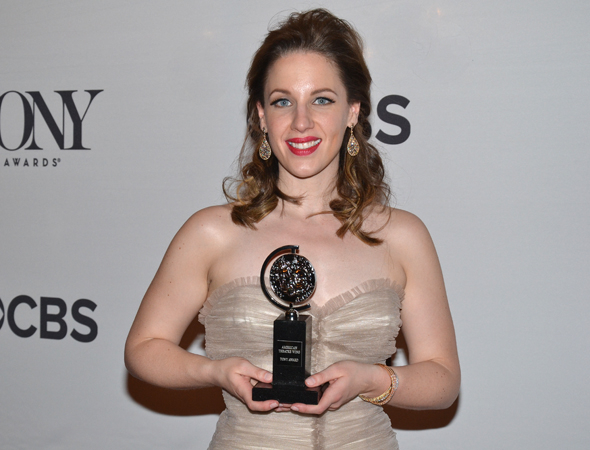 <p>Jessie Mueller, Best Actress in a Musical winner for her performance as Carole King in <em>Beautiful — The Carole King Musical</em>.</p><br />(© David Gordon)