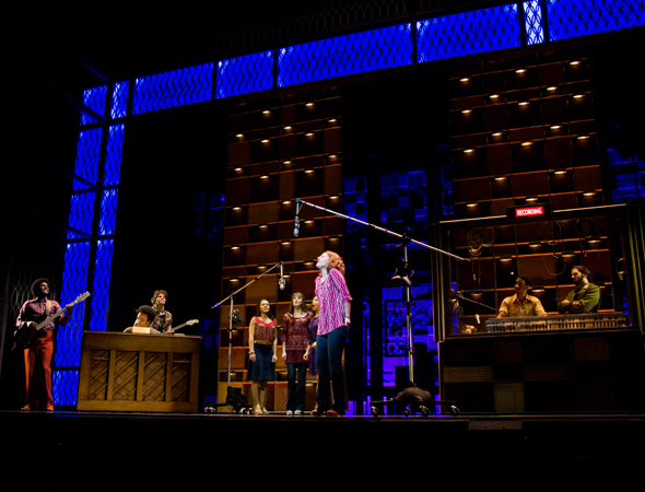 <p>Jessie Mueller (center), as Carole King, records the landmark song &quot&#x3B;(You Make Me Feel Like) A Natural Woman.&quot&#x3B;</p><br />(© David Gordon)