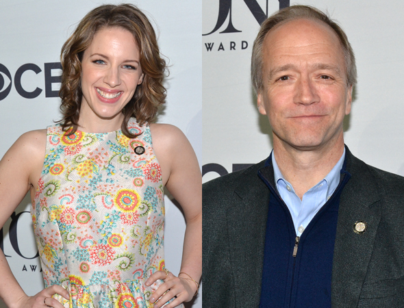 <p>Jessie Mueller (left) is up for a Tony for her portrayal of Carole King in the musical <em>Beautiful</em>, written by Douglas McGrath (right).</p><br />(© David Gordon)