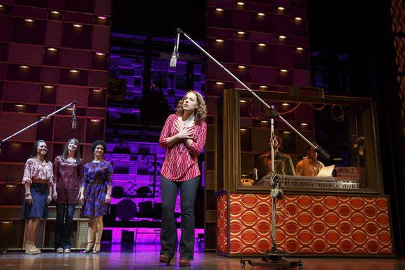 <p>Jessie Mueller steps into the recording studio as Carole King.</p><br />(© Joan Marcus)
