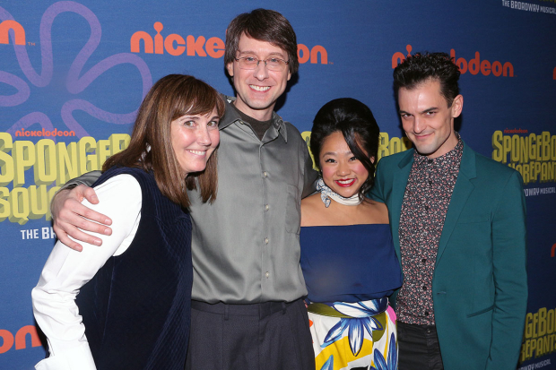 <p>Jill Talley and Mr. Lawrence, who voice the roles of Karen and Plankton, meet their theatrical counterparts, Stephanie Hsu and Wesley Taylor.</p><br />(© David Gordon)