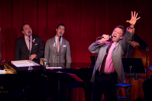 <p>Jim Caruso with backup singers William Blake and Trevor McQueen. </p><br />(©Seth Walters)