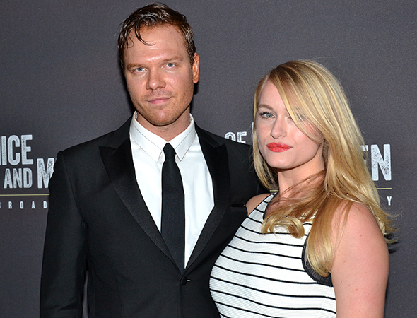 <p>Jim Parrack, who plays Slim, is joined by Leven Rambin of <em>The Hunger Games</em> at the after-party.</p><br />(© David Gordon)