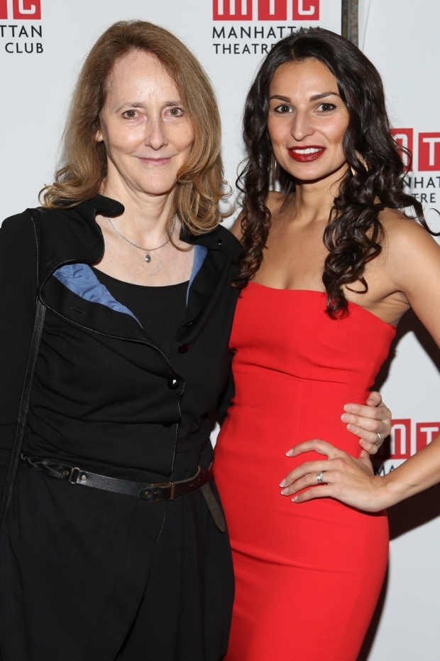 <p>Jo Bonney and Martyna Majok stop for a photo on the red carpet.</p><br />(© Tricia Baron)
